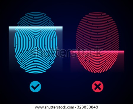 Electronic fingerprint scan. Passed and not passed authorization - stock vector