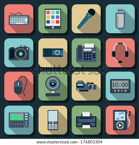 Electronic flat vector icons set 2 - stock vector
