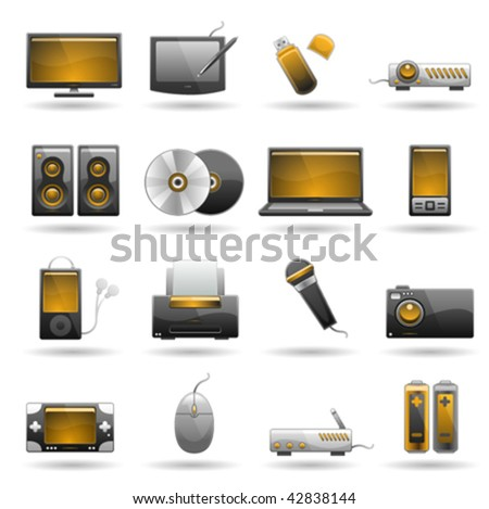 electronic icon set - stock vector