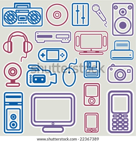 electronic icon set vector - stock vector