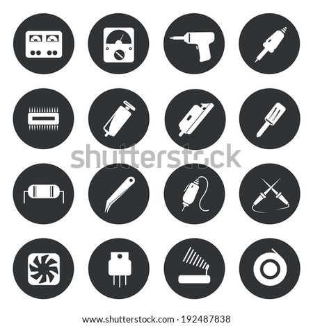 Electronic icons repair equipment. tools vector illustration. - stock vector