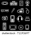 electronic item icon set - stock vector