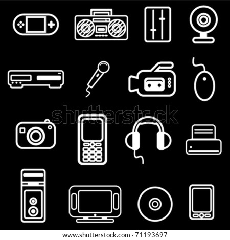 electronic item icon set