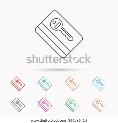 Electronic key icon. Hotel room card sign. Unlock chip symbol. Linear icons on white background. - stock vector