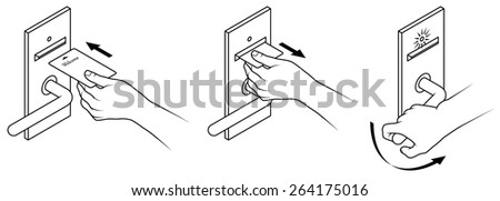 Electronic keycard door opening instructions diagram stock vector electronic keycard door opening instructions diagram insert and remove card front slot ccuart Gallery