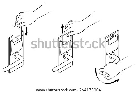 Electronic keycard door opening instructions diagram. Insert and remove card top slot. - stock vector
