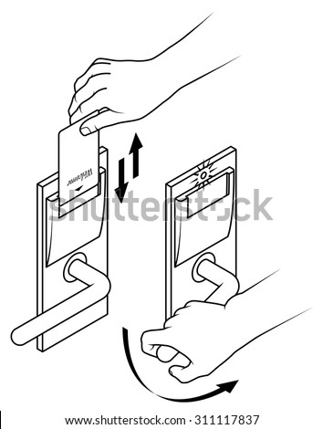 Electronic keycard door opening instructions diagram. Insert and remove card top slot. Two step version.