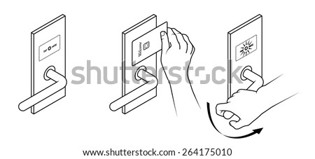 Electronic keycard door opening instructions diagram. Tap card / contactless. - stock vector