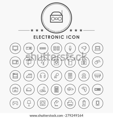 electronic line icons with circle button - stock vector