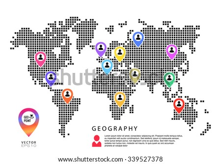 electronic pixel map geography points - stock vector