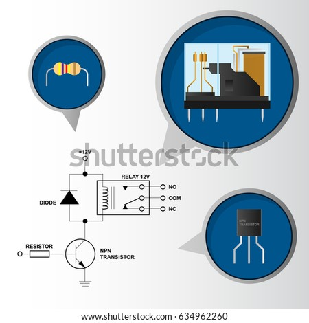 Electronic Relay Control Circuit Schematic Component Stock Vector HD ...