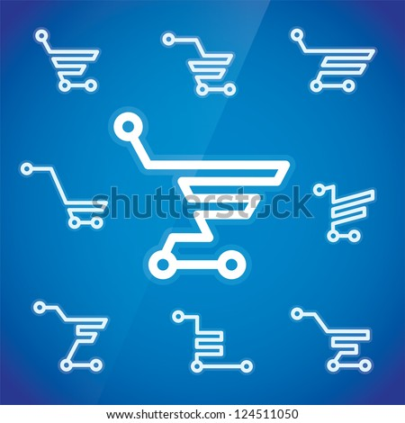 Electronic Shopping Cart Illustration, Sign, Symbol, Button, Badge, Icon, Logo for Family, Baby, Children, Teenager, People - stock vector
