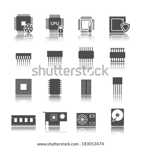 Electronic technology devices computer circuits black icons set isolated vector illustration - stock vector