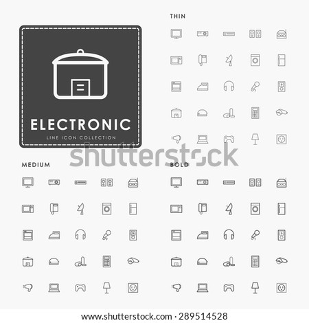 electronic thin, medium and bold line icons - stock vector