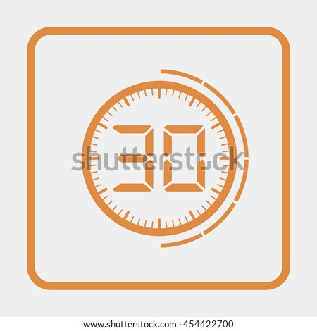 Electronic timer 30 seconds - stock vector