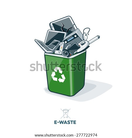 Electronic waste in green recycling bin with discarded electrical and electronic devices such as computer monitor, cell phone, radio, television, video camera, keyboard and mouse. E-waste concept. - stock vector