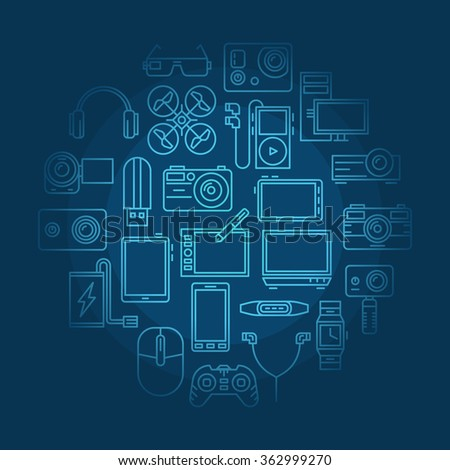 Electronics and gadgets illustration - vector round blue modern background made with thin line device symbols