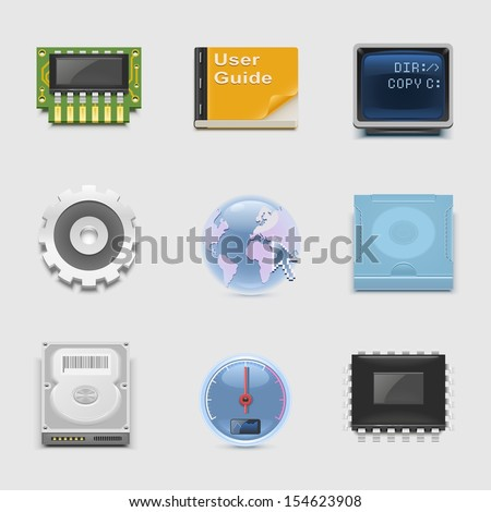 electronics and networking vector icon set - stock vector