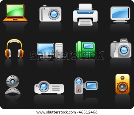 Electronics Computers Multimedia icon set