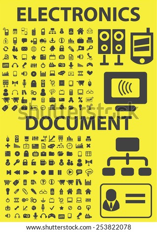 electronics, document, office, computer, media isolated flat icons, signs, symbols illustrations, images, silhouettes on background, vector - stock vector
