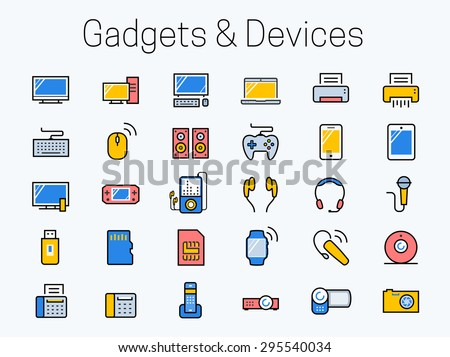 Electronics, gadgets and devices icon set - stock vector