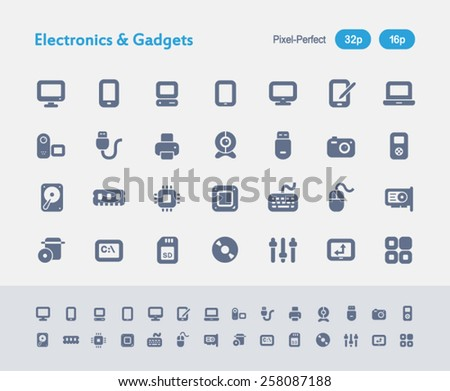 Electronics & Gadgets. Ants Icon Series. Simple glyph style icons designed in a 32x32px grid and redesigned in a 16x16px grid. - stock vector