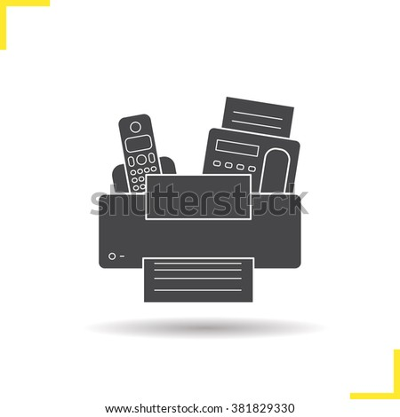 Electronics icon. Drop shadow electronics icon. Printer, telephone and fax modern electronic equipment. Isolated black electronics illustration. Logo concept. Electronics vector silhouette symbol - stock vector