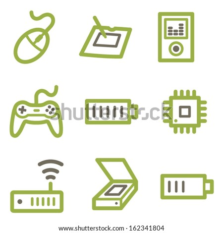 Electronics icons, green line contour series