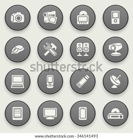 Electronics icons on black buttons. Flat design.