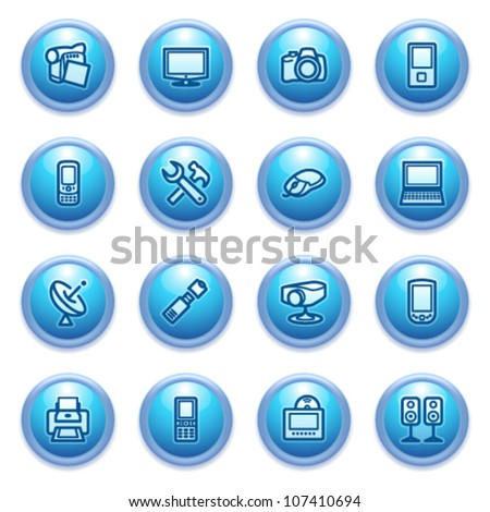 Electronics icons on blue buttons. - stock vector