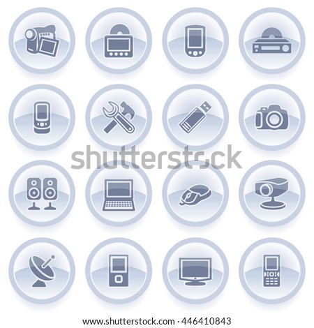 Electronics icons on blue stickers.