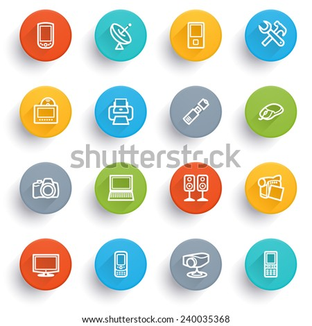 Electronics icons with color buttons. - stock vector