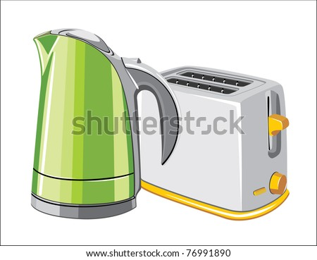 Electronics Kettle and Toaster on white background