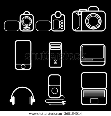 Electronics. Modern computer games and multimedia technology simplified symbolic image.
