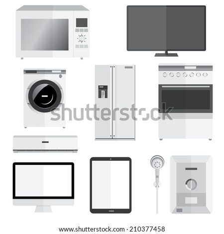 Electronics technics isolated on white vector - stock vector