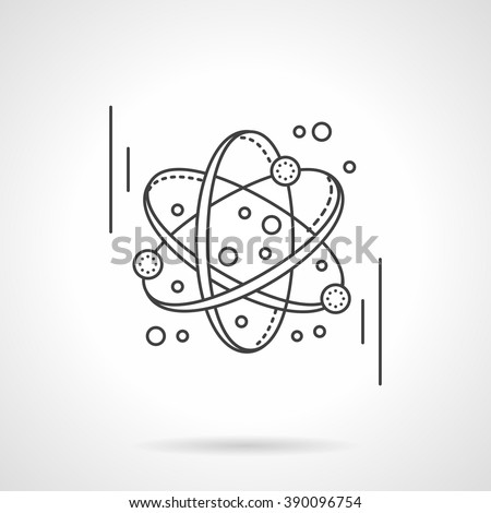 Electronics transform. Atomic or molecule model. Science and education concept. Flat line style vector icon. Single design element for website, business. - stock vector