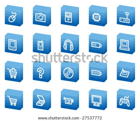 Electronics web icons, blue box series - stock vector