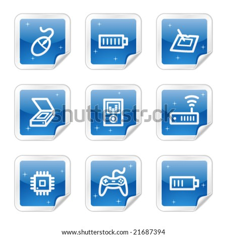 Electronics web icons, blue glossy sticker series set 2 - stock vector