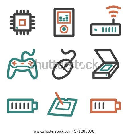 Electronics web icons, contour series - stock vector