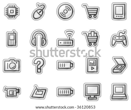 Electronics web icons, grey sticker series - stock vector