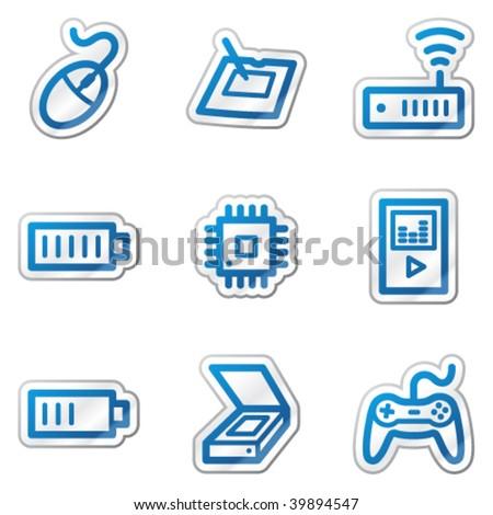 Electronics web icons set 2, blue contour sticker series - stock vector