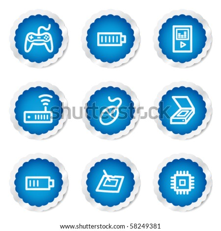 Electronics web icons set 2, blue stickers series - stock vector