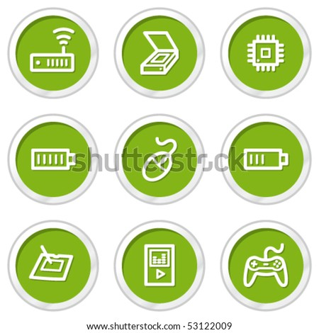 Electronics web icons set 2, green circle buttons - stock vector