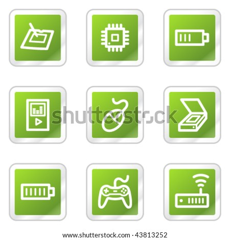 Electronics web icons set 2, green square sticker series - stock vector