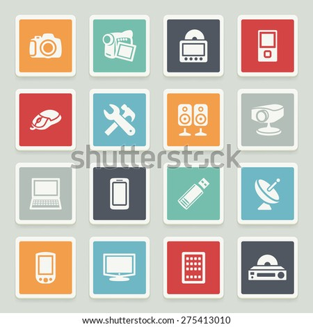 Electronics white icons with buttons on gray background. - stock vector