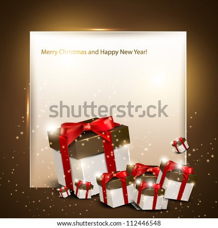 Elegance background with Christmas gifts - stock vector