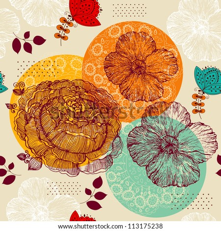 Elegance background with hand drawn flowers - stock vector