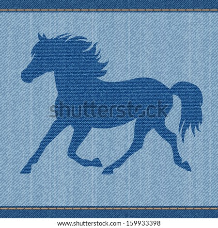 Elegance beautiful blue denim jeans horse. - stock vector