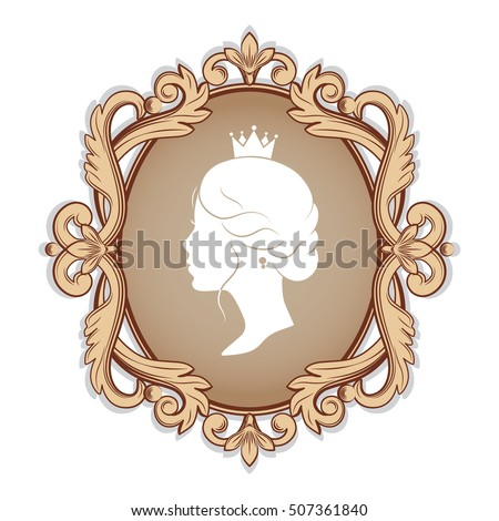 Elegance Cameo Profile Silhouette Princess Frame Stock Photo (Photo ...
