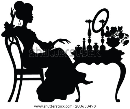 elegance retro lady looking in the mirror  - stock vector